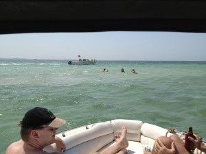 Gulf of Arabia, 20 minutes off Manama, Bahrain. Sandbar. Innocent looking, no? Even from my perch under the canopy.